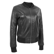 Womens Leather Bomber Jacket Black Zip Fasten Fitted Varsity Joy