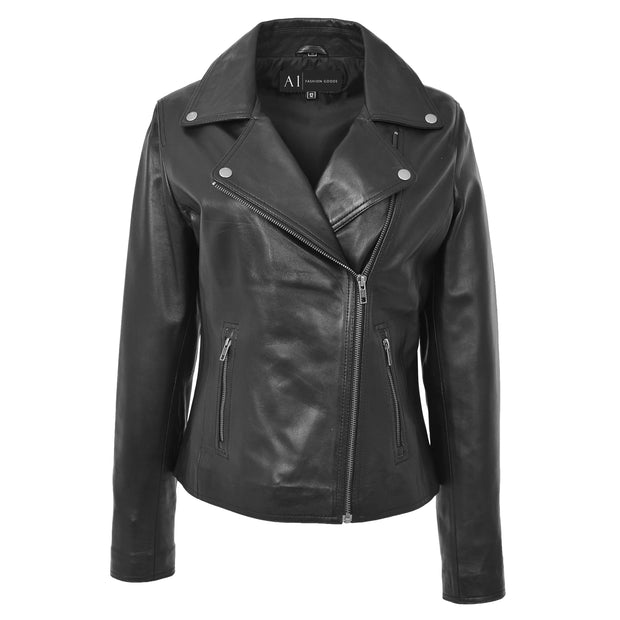 Womens Genuine Leather Biker Jacket Designer Fitted Coat Myla Black