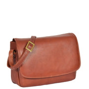 Ladies BROWN Leather Shoulder Bag Flap Over Handbag A190