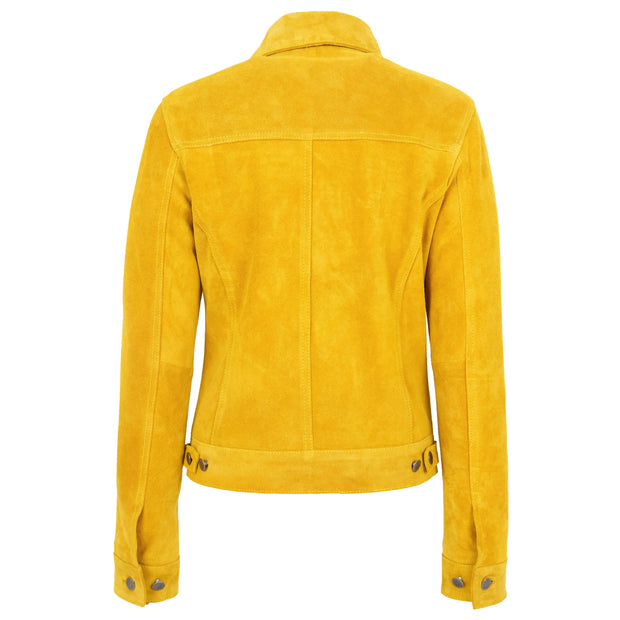 Womens Yellow  Suede Trucker Jacket American Western Denim Biker Style Marisa Back