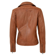 Womens Genuine Leather Biker Jacket Designer Fitted Coat Myla Tan Back