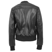 Womens Leather Bomber Jacket Black Zip Fasten Fitted Varsity Joy Back