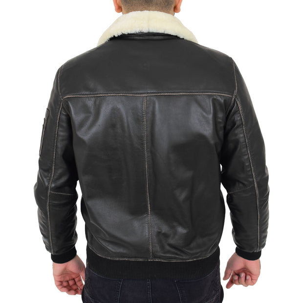 Mens Vintage Bomber Leather Jacket Sheepskin Collar Varsity Gunner Rub Off Back