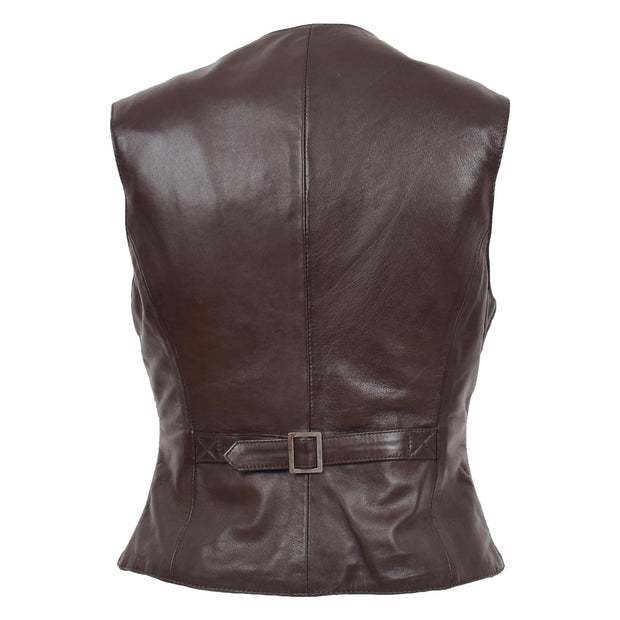 Womens Soft Leather Waistcoat Slim Fit Vest Classic Gilet Katy Brown Back