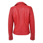 Womens Genuine Leather Biker Jacket Designer Fitted Coat Myla Red Back