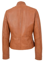 Womens Soft Cognac Leather Biker Jacket Stand-Up Band Collar Bliss 1