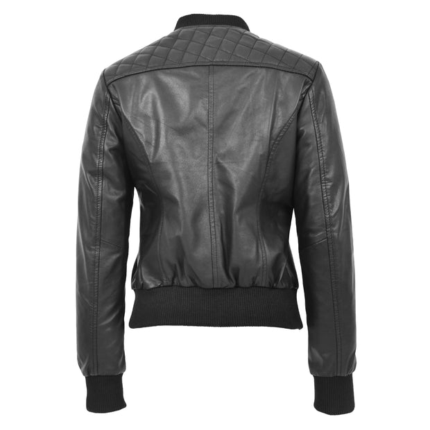 Womens Real Leather Bomber Jacket Black Diamond Quilted Fitted Varsity Storm Back