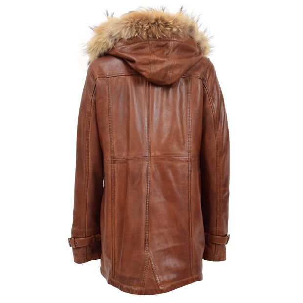 Ladies Genuine Cognac Leather Duffle Coat Removable Hood Parka Jacket Patty Back