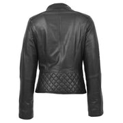 Trendy Black Leather Biker Jacket For Women Quilted Fitted Band Collar Penny Back