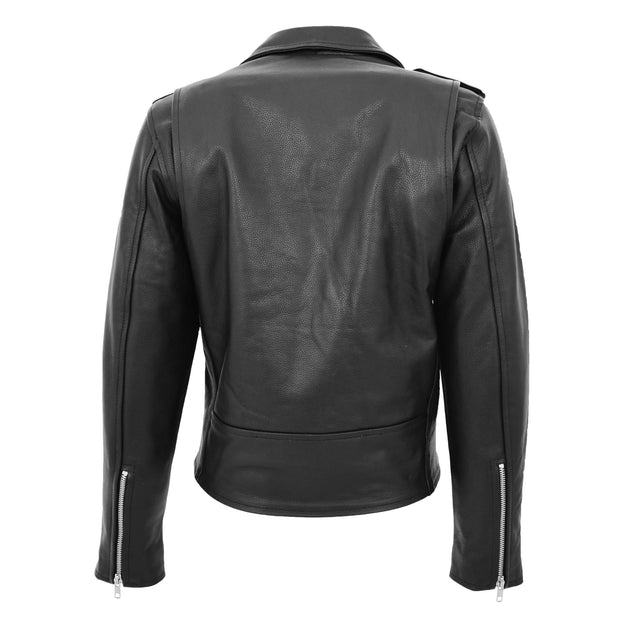 Womens Cowhide Biker Leather Jacket Brando Style Coat Helen Black Back