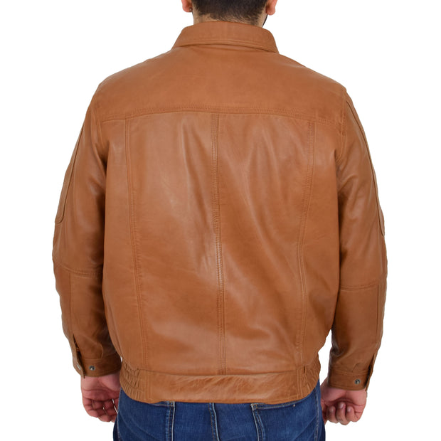 Gents Classic Blouson Leather Jacket Albert Tan Back
