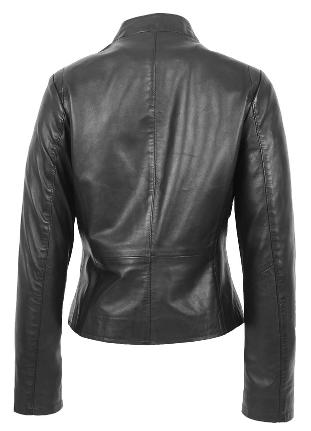 Womens Soft Black Leather Biker Jacket Stand-Up Band Collar Bliss 1