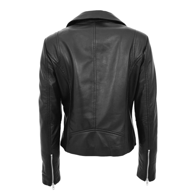 Ladies Real Leather Jacket High Quality Zip Fasten Fitted Biker Style Sadie Black Back