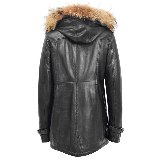 Ladies Genuine Black Leather Duffle Coat Removable Hood Parka Jacket Patty Back