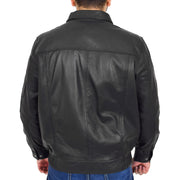 Gents Classic Blouson Leather Jacket Albert Black Back