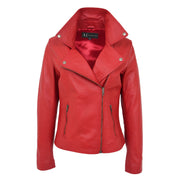 Womens Genuine Leather Biker Jacket Designer Fitted Coat Myla Red Open Neck