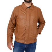 Gents Classic Blouson Leather Jacket Albert Tan Front 1