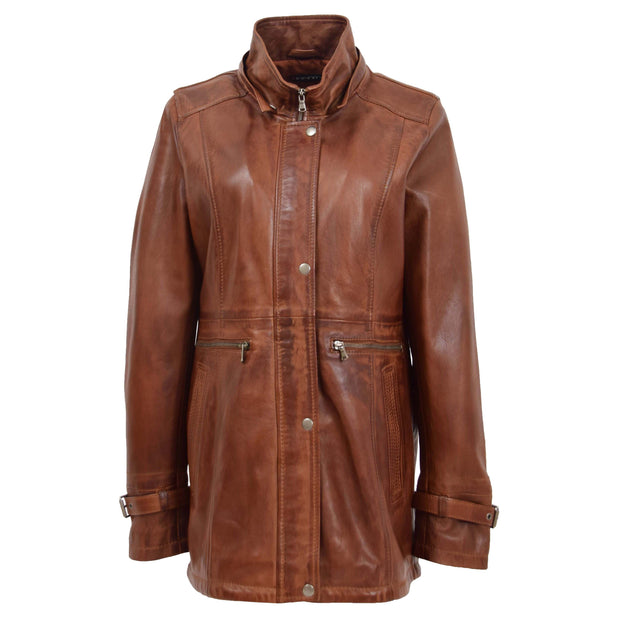 Ladies Genuine Cognac Leather Duffle Coat Removable Hood Parka Jacket Patty Without Hood