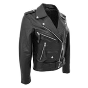 Womens Cowhide Biker Leather Jacket Brando Style Coat Helen Black Front Side 1