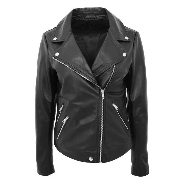 Ladies Real Leather Jacket High Quality Zip Fasten Fitted Biker Style Sadie Black Front 1