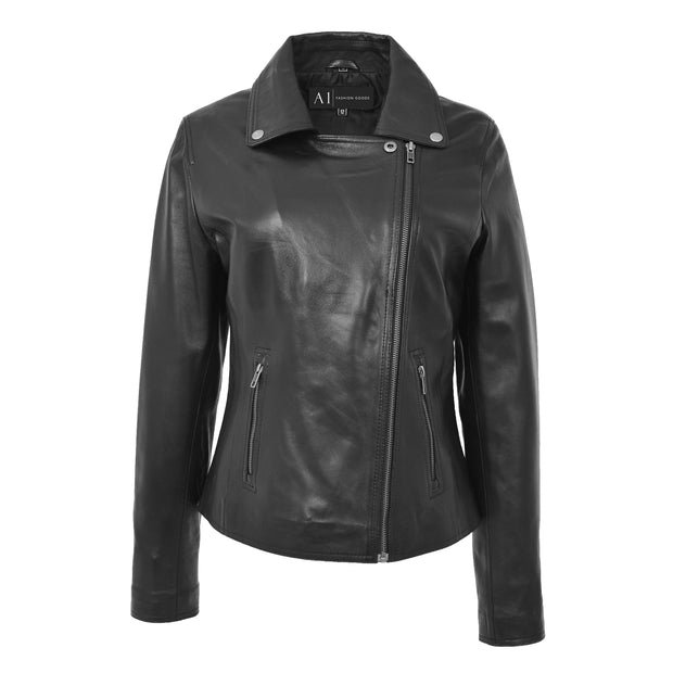 Womens Genuine Leather Biker Jacket Designer Fitted Coat Myla Black Close Neck