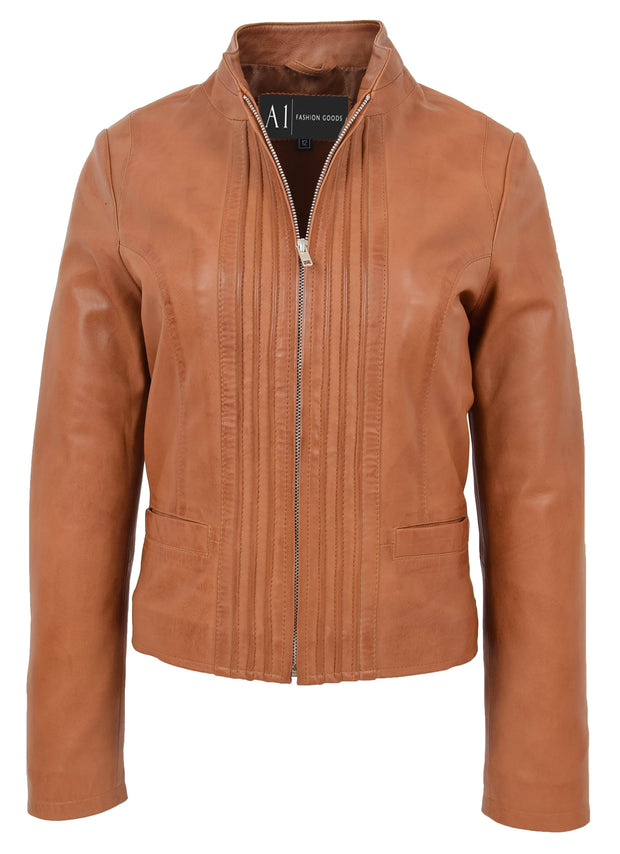 Womens Soft Cognac Leather Biker Jacket Stand-Up Band Collar Bliss 2
