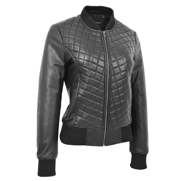 Womens Real Leather Bomber Jacket Black Diamond Quilted Fitted Varsity Storm Front 1