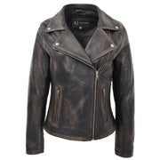 Womens Fitted Real Vintage Rub Off Leather Designer Biker Jacket Myla Front 1