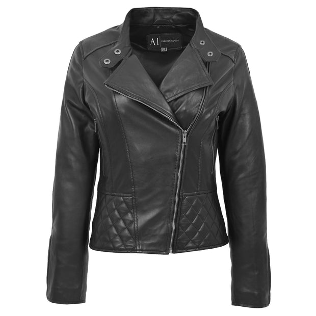 Trendy Black Leather Biker Jacket For Women Quilted Fitted Band Collar Penny Front 1