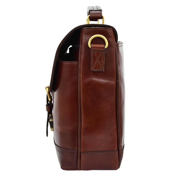Luxurious Leather Briefcase Classy Business Laptop Bag Buddy Brown Side