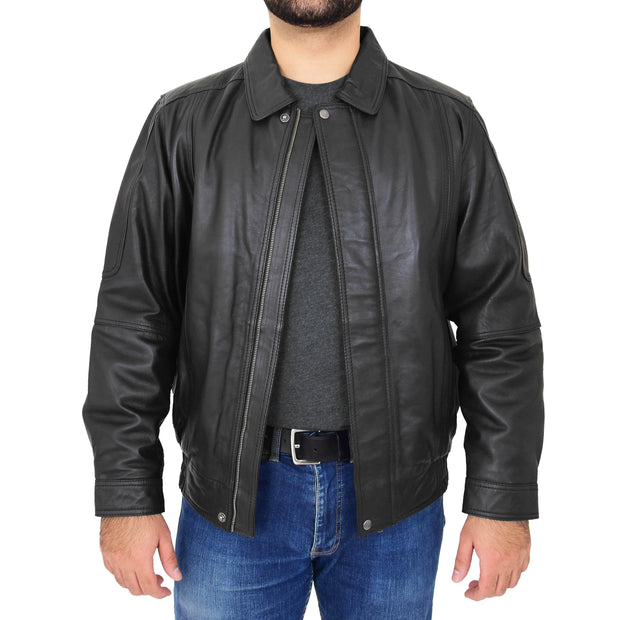 Gents Classic Blouson Leather Jacket Albert Black Open 1