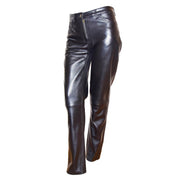 Womens Soft Black Leather Trouser Slim Fit Tapered Jeans Lyla Front 1
