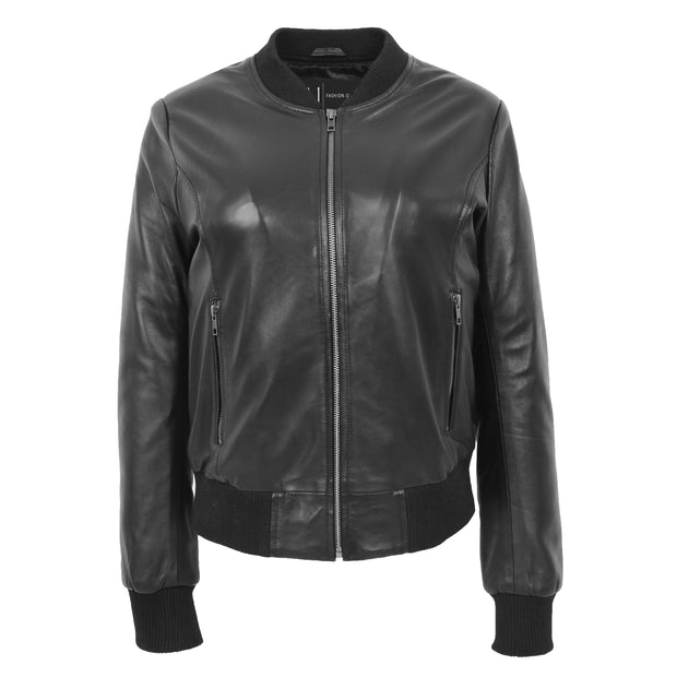 Womens Leather Bomber Jacket Black Zip Fasten Fitted Varsity Joy 1