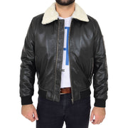 Mens Vintage Bomber Leather Jacket Sheepskin Collar Varsity Gunner Rub Off Open