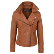 Womens Genuine Leather Biker Jacket Designer Fitted Coat Myla Tan  Open Neck