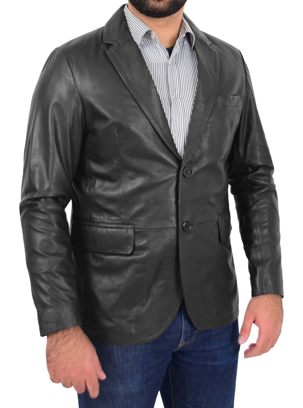 Mens Blazer Jacket Fitted 2 Button Fasten Donnie Black 2