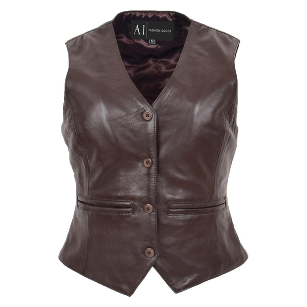 Womens Soft Leather Waistcoat Slim Fit Vest Classic Gilet Katy Brown
