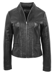 Womens Soft Black Leather Biker Jacket Stand-Up Band Collar Bliss 2