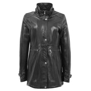Ladies Genuine Black Leather Duffle Coat Removable Hood Parka Jacket Patty Without Hood