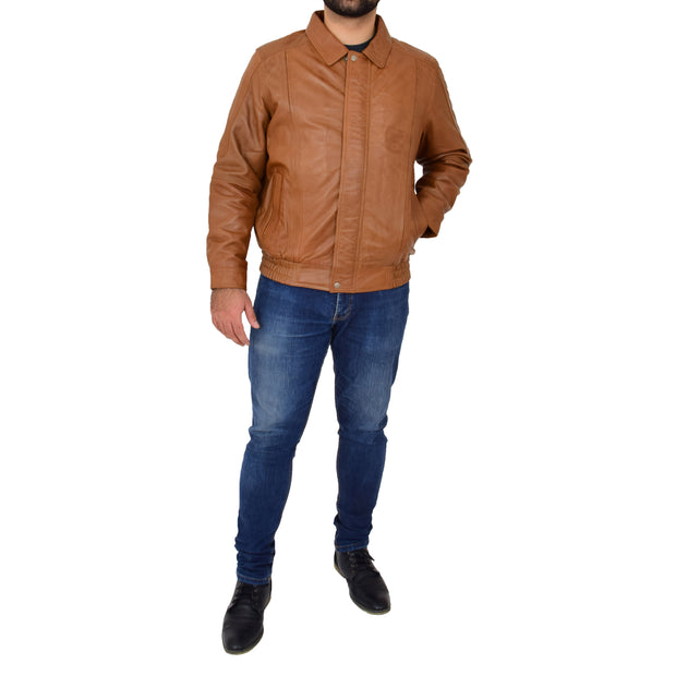 Gents Classic Blouson Leather Jacket Albert Tan Full