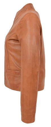 Womens Soft Cognac Leather Biker Jacket Stand-Up Band Collar Bliss 3