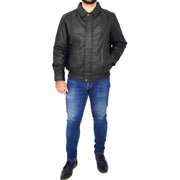 Gents Classic Blouson Leather Jacket Albert Black Full