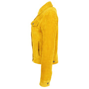 Womens Yellow  Suede Trucker Jacket American Western Denim Biker Style Marisa Side