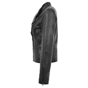 Trendy Black Leather Biker Jacket For Women Quilted Fitted Band Collar Penny Side