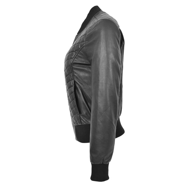 Womens Real Leather Bomber Jacket Black Diamond Quilted Fitted Varsity Storm Side