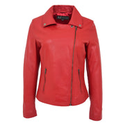 Womens Genuine Leather Biker Jacket Designer Fitted Coat Myla Red Close Neck