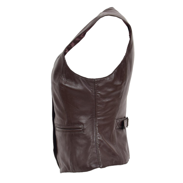 Womens Soft Leather Waistcoat Slim Fit Vest Classic Gilet Katy Brown Side