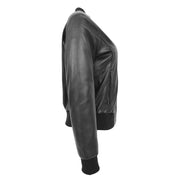 Womens Leather Bomber Jacket Black Zip Fasten Fitted Varsity Joy Side