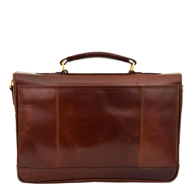 Luxurious Leather Briefcase Classy Business Laptop Bag Buddy Brown Back