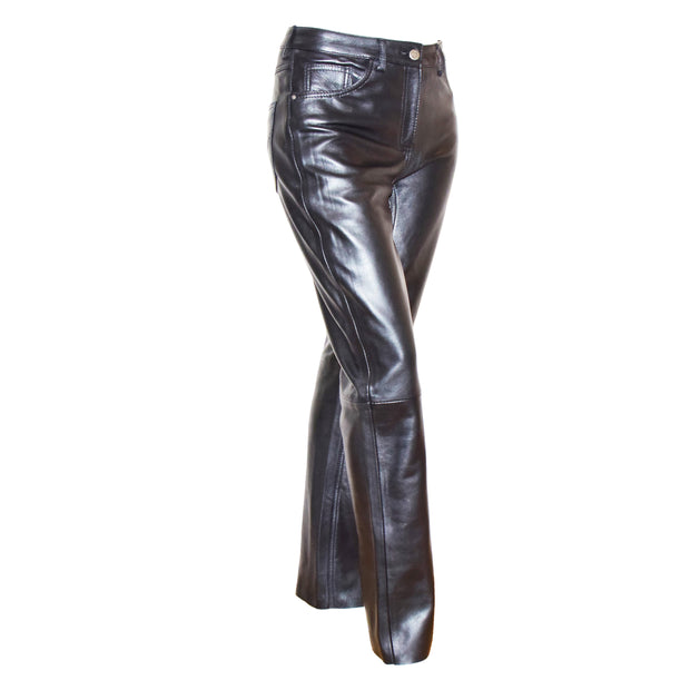 Womens Soft Black Leather Trouser Slim Fit Tapered Jeans Lyla Front 2